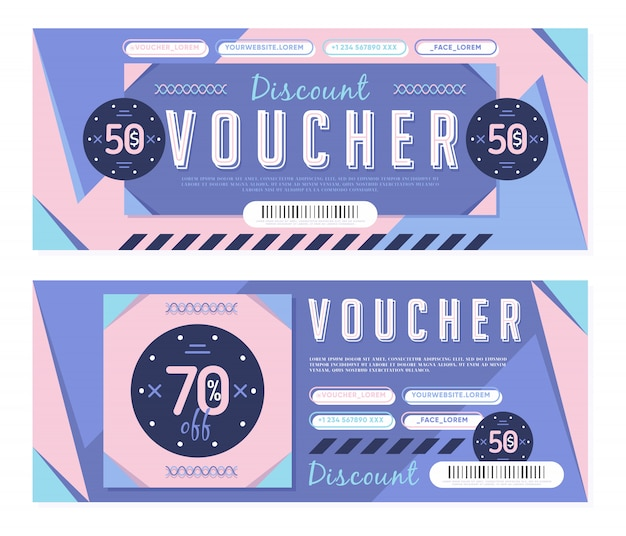 Vouchers for 50$ and 70% discount