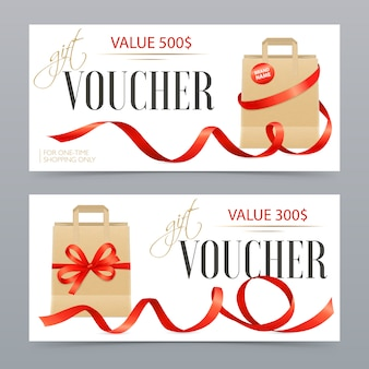 Vouchers realistic ribbons set