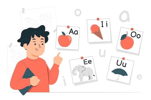 Illustrazione del concetto di vocali