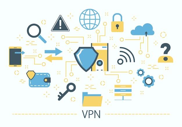 Vpn 개념. 개인 정보 보호 및 보안에 대한 아이디어. 현대