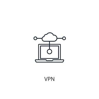Vpnコンセプトラインアイコン。シンプルな要素のイラスト。 vpnコンセプト概要シンボルデザイン。 webおよびモバイルui / uxに使用できます