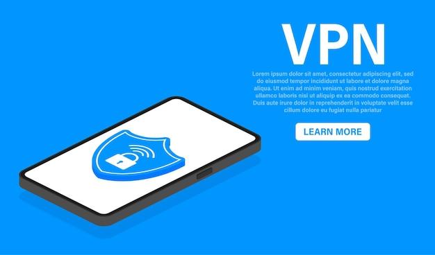Vpn flat blue secure shield on white