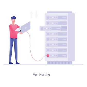A vpn hosting conceptual illustration in flat editable style