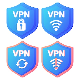 Vpn service concept icons using vpn to protect his personal data in computer virtual private network secure network connection and privacy protection data transfer concept set secure web traffic