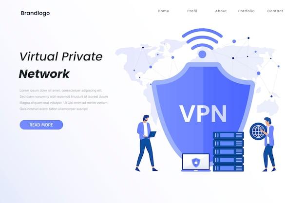 Vpn 서비스 일러스트레이션 랜딩 페이지