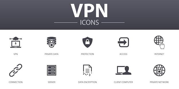 Набор иконок простой концепции vpn. содержит такие значки, как личные данные, защита, интернет, соединение и многое другое, может использоваться для интернета, логотипа, пользовательского интерфейса / пользовательского интерфейса.