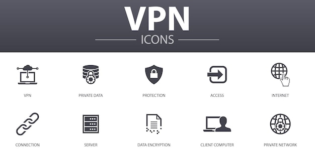 Vpn simple concept icons set. contains such icons as private data, protection, internet, connection and more, can be used for web, logo, ui/ux