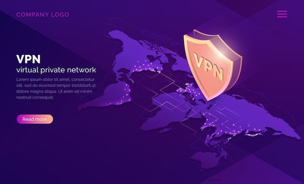 Vpn virtual private network isometric landing page Free Vector