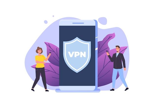 Vpn、仮想プライベートネットワークモバイルサービスの概念。スマートフォンの個人データを保護します。ベクトルイラスト