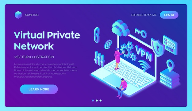 Vpn. virtual private network. secure vpn connection . 3d isometric .