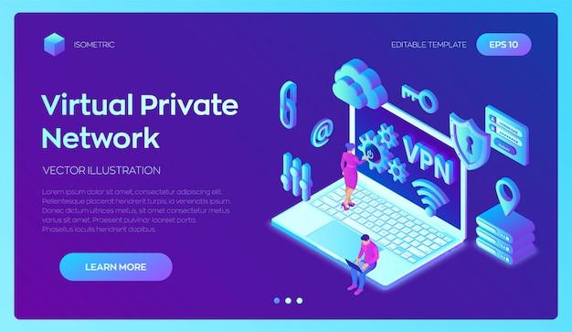 Vpn。仮想プライベートネットワーク。安全なvpn接続。 3dアイソメトリック。