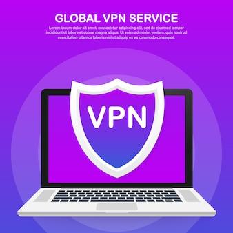 Vpn接続。安全な仮想プライベートネットワーク接続の概念。紫外線色で等尺性。