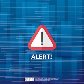 感嘆符付きの注意警告攻撃者警告サイン。インターネット危険シンボルの警戒に注意してください。 vpnのシールドラインアイコン。