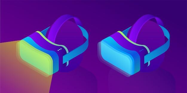 Vr гарнитура, очки виртуальной дополненной реальности. технологии будущего. 3d изометрические иллюстрации на фоне ультрафиолетового