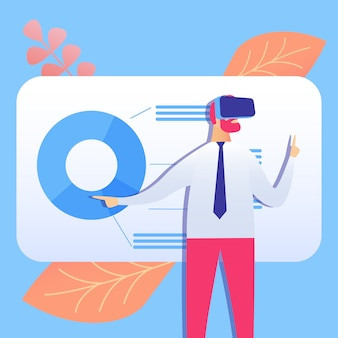 Vr business presentation flat vector illustration