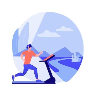 Illustrazione di vettore di concetto astratto palestra fitness vr. sistema di allenamento in realtà virtuale, nuova tecnologia per il fitness, goditi il tuo allenamento, nuovo modo di mettersi in forma, metafora astratta dell'esperienza di immersione totale.