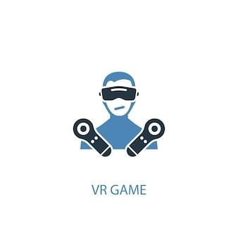 Vr 게임 컨셉 2 컬러 아이콘입니다. 간단한 파란색 요소 그림입니다. vr 게임 컨셉 심볼 디자인. 웹 및 모바일 ui/ux에 사용할 수 있습니다.