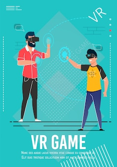 Vr game invitation poster with cartoon gamers