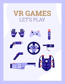 Vr games banner with special equipment for d games cartoon illustration