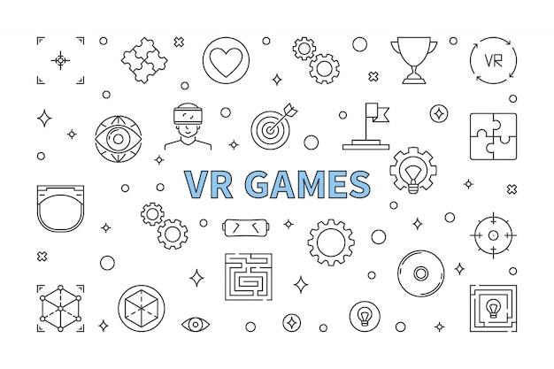 Vr games горизонтальный контур иллюстрации