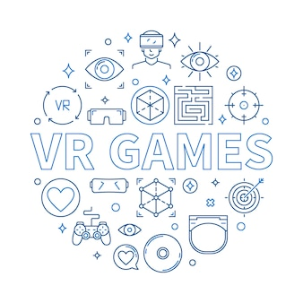 Vr games round icon illustration in thin line style