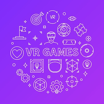 Vr games  round line icons