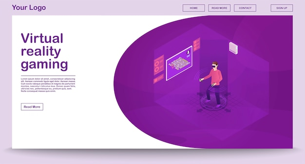 Vr игровой шаблон веб-страницы с изометрической иллюстрацией