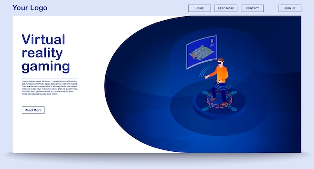 Vr gaming webpage template with isometric illustration