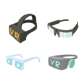 Vr glasses icon set
