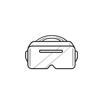 Vr 고글 손으로 그린 개요 낙서 아이콘. 가상 현실 안경 헤드셋, Vr 기술 개념 프리미엄 벡터