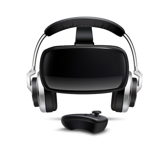 Vr headset headphones gamepad realistic image