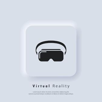Значок гарнитуры vr. устройство виртуальной реальности, очки. вектор. значок пользовательского интерфейса. белая веб-кнопка пользовательского интерфейса neumorphic ui ux. неоморфизм