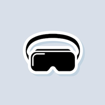 Vr headset sticker. virtual reality device, glasses. vector on isolated background. eps 10.