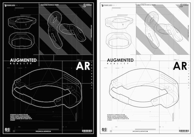 미래 지향적 인 스타일의 vr 헬멧. 창조적 인 미래 개념. 웹 및 인쇄용 최신 템플릿.