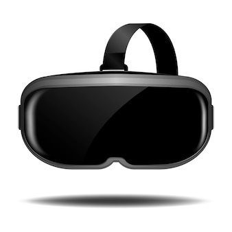 Vr helmet or virtual reality glasses with shadow on white