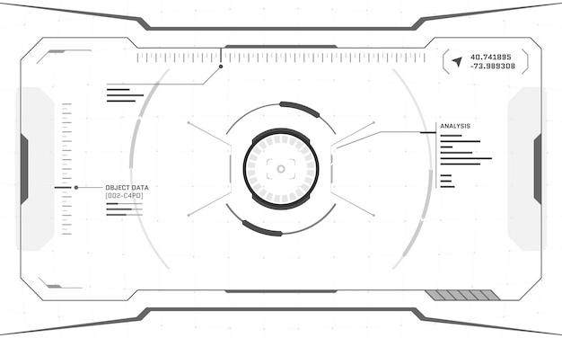 白い背景の上のvrhudデジタル未来的なインターフェイスサイバーパンク画面デザイン。サイエンスフィクションバーチャルリアリティテクノロジービューヘッドアップディスプレイ。デジタル技術guiuiダッシュボードパネルベクトル図