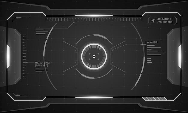 Vrhudデジタル未来インターフェースサイバーパンクスクリーンデザイン。サイエンスフィクションバーチャルリアリティテクノロジービューヘッドアップディスプレイ。デジタル技術guiuiダッシュボードパネルベクトル白黒イラスト