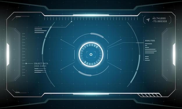 Vr hud, цифровой футуристический дизайн экрана, технология виртуальной реальности scifi, вид на дисплей
