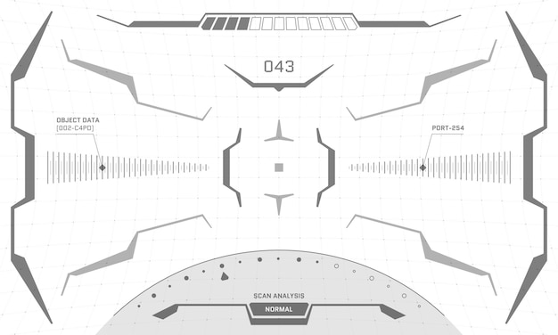Vr hud interface crosshair screen black and white design. futuristic sci-fi virtual reality view head up display visor. gui ui digital technology control center dashboard panel vector eps illustration