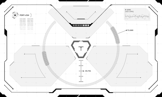 Vr hud interface cyberpunk screen black and white design. futuristic sci-fi virtual reality view head up display visor. gui ui digital technology dashboard panel vector eps illustration