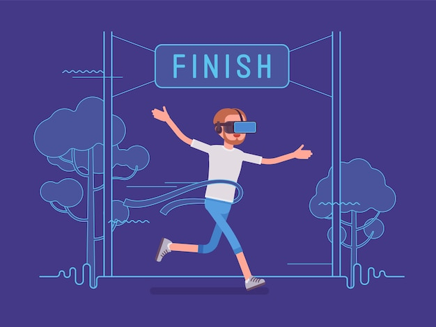 Vr man running and winning