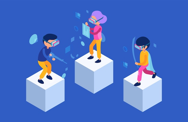 Vr 사람들. 가상 현실 게임 몰입 형 기술에서 재생하는 미래의 캐릭터 남성과 여성. 현대 등각 투영 벡터 문자. 비디오 게임을하는 일러스트레이션 시뮬레이션 경험