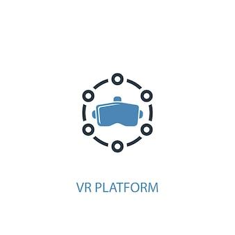 Концепция платформы vr 2 цветной значок. простой синий элемент иллюстрации. дизайн символа концепции платформы vr. может использоваться для веб- и мобильных ui / ux