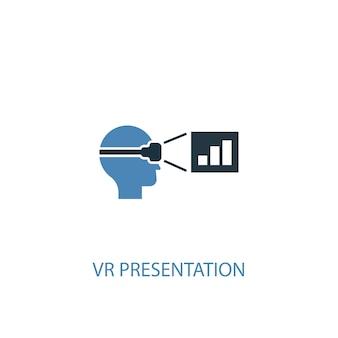 Концепция презентации vr 2 цветной значок. простой синий элемент иллюстрации. дизайн символа концепции презентации vr. может использоваться для веб- и мобильных ui / ux