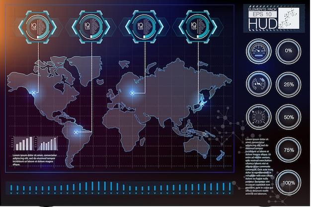 未来のvrヘッドアップディスプレイデザイン。 sci-fiヘルメットhud。将来の技術ディスプレイデザイン。