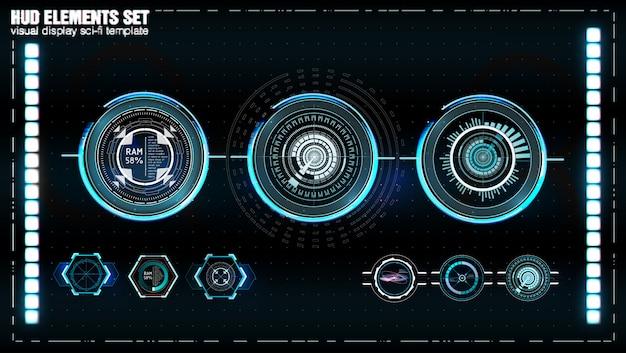 未来的なvrヘッドアップディスプレイ。 sfヘルメットhud。