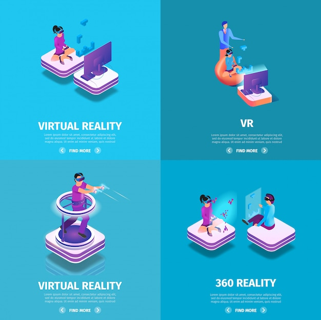 Vr square banners set with gaming people playing