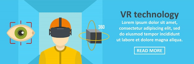 Vr technology banner template horizontal concept