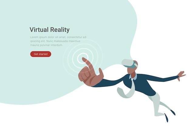 Vr технология плоский дизайн иллюстрация человек в виртуальных очках нажмите сенсорную виртуальную кнопку