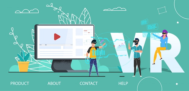 Vr technology user interface flat landing page